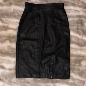 Genuine Leather Midi Skirt